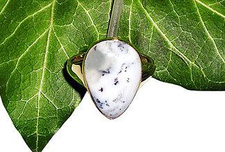 Prstene - ZLATÝ prsten dendritický OPÁL - 9286503_