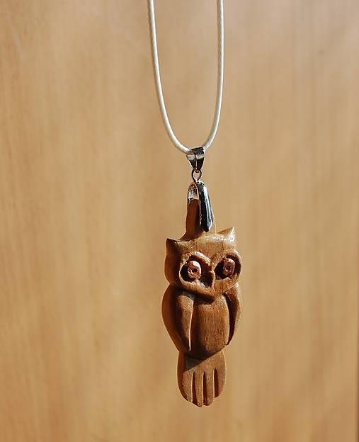 Drevený náhrdelník - Sovička