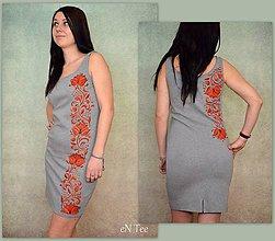 Šaty - Gray Folk - maľované šaty s folklórnym motívom - 9288102_