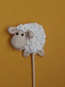 Dekorácie - veľkonočná biela ovečka zápich - 9286071_