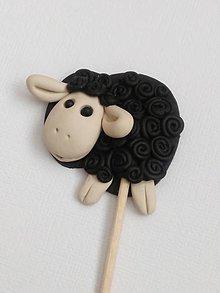 Dekorácie - veľkonočná ovečka čierna zápich - 9286081_