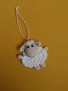 Dekorácie - veľkonočná biela ovečka - 9286119_