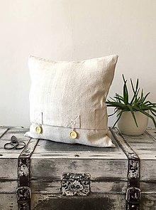Úžitkový textil - Obliečka na vankúš z ručne tkaného plátna - 9288418_