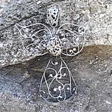 Dekorácie - Cínovaný anjel malý 12-13 cm (Jaspis dalmatín) - 9292663_