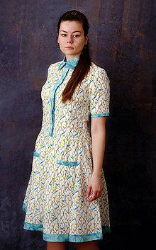 Šaty - Košeľové šaty s vtáčikmi a batikou na privolanie jari - 9293876_