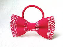 Ozdoby do vlasov - Red folk hair bow - 9292650_