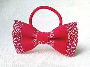 Ozdoby do vlasov - Red folk hair bow - 9292651_