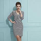 - Šaty s riasením (čierno biele pruhované) - 9293170_