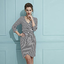 Šaty - Šaty s riasením (čierno biele pruhované) - 9293170_