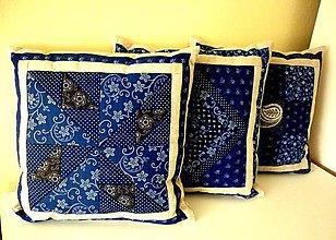 Úžitkový textil - Obliečky modrotlač a ľan (vrtuľky) - 9293838_