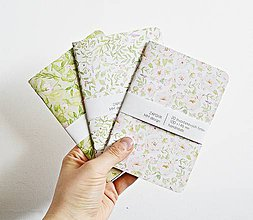 Papiernictvo - 3 zápisníky - kvetinové - 9293324_