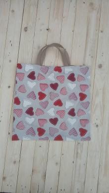 Nákupné tašky - Eko látková nákupná taška srdiečka - 9290359_
