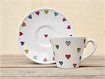 Nádoby - Porcelánová šálka s podšálkou - Srdiečka (lungo - 130 ml) - 9293438_