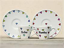 Nádoby - Porcelánová šálka s podšálkou na ristretto (50 ml) - Srdiečka - 9293585_