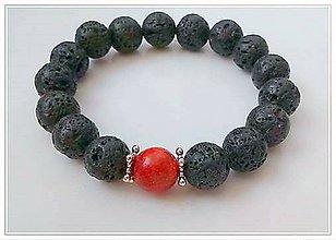 Náramky - Náramok láva s červeným koralom - 9290619_