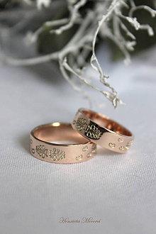 Prstene - Obrúčky s folklórnym vzorom (Spiš ružové zlato) - 9291447_