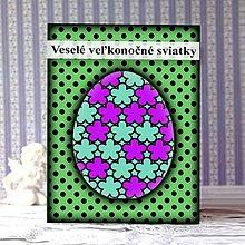 Papiernictvo - Geometrické veľkonočné vajíčko puntíky - kvietky - 9293207_