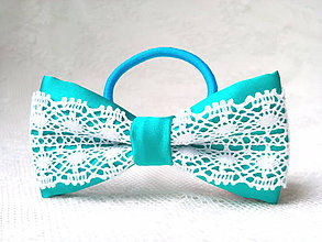 Ozdoby do vlasov - Folklore hair bow (turquoise/white) - 9296937_