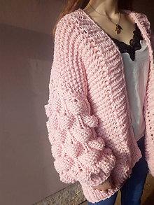 Svetre/Pulóvre - Bubble cardigan pink (Iná farba...) - 9296418_