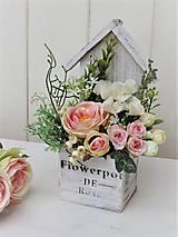 Dekorácie - Jarná dekorácia v drevenom domčeku - 9294307_