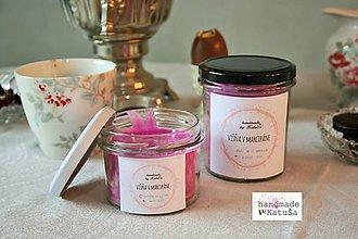 Darčeky pre svadobčanov - handmade sviečka višňa v marcipáne (235 ml) - 9296578_