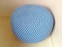 Úžitkový textil - Háčkovaný PUF svetlomodrý bavlna - 9295197_