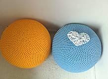 Úžitkový textil - Háčkovaný PUF svetlomodrý bavlna - 9295199_