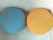 Úžitkový textil - Háčkovaný PUF svetlomodrý bavlna - 9295201_