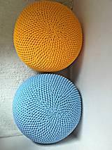 Úžitkový textil - Háčkovaný PUF svetlomodrý bavlna - 9295202_