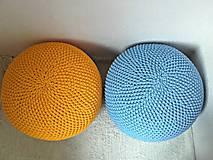 Úžitkový textil - Háčkovaný PUF svetlomodrý bavlna - 9295204_