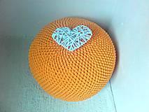 Úžitkový textil - Háčkovaný PUF sýta žltá bavlna - 9295237_