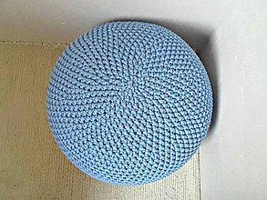 Úžitkový textil - Háčkovaný PUF svetlomodrý bavlna - 9295198_