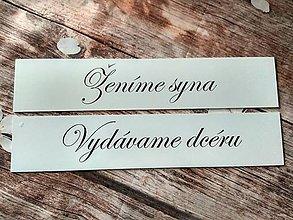 Tabuľky - Svadobná tabuľka na dvere Vydávame dcéru / Ženíme syna - 9298188_