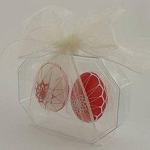 Dekorácie - Kraslice - červená a biela (darčekové) - 9297068_