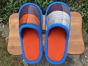 Obuv - Oranžové papuče s modrým lemom - 9297241_