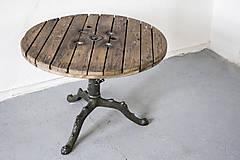 Nábytok - Stolík zo špulky na káble s liatinovou nohou - 9295519_