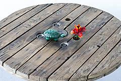 Nábytok - Stolík zo špulky na káble s liatinovou nohou - 9295520_