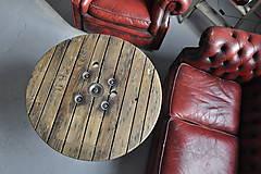Nábytok - Stolík zo špulky na káble s liatinovou nohou - 9295526_
