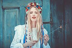 Ozdoby do vlasov - Menšia folklórna parta so stuhami a čipkami - 9298570_