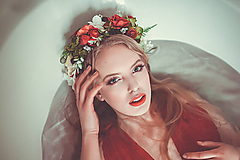 Ozdoby do vlasov - Červený romantický venček - 9298584_