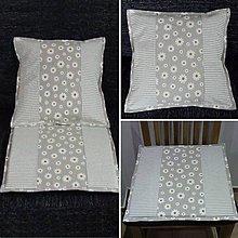 Úžitkový textil - Pásik a sedmokráska na režnej(2) - obliečka 2 v 1 - 9297852_