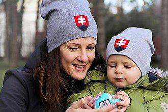 Detské čiapky - Pružná čiapka Slovensko & sivá - 9298461_