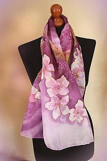 Šály - Maľovaný fialovo-hnedá hodvábny šál... - 9295328_
