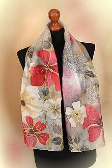 Šály - Maľovaný hodvábny šál sivo-červený kvetovaný... - 9295679_