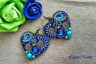 Náušnice - Modrý svet v srdci náušnice - 9296724_