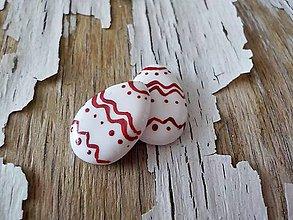 Náušnice - veľkonočné vajíčka-napichovačky (s červeným ornamentom) - 9297969_
