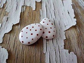 Náušnice - veľkonočné vajíčka-napichovačky (s červenými bodkami) - 9297979_