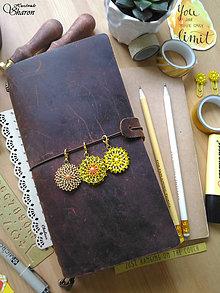 Kľúčenky - Šité prívesky (žlté) (Žltooranžový prívesok v strede) - 9295901_