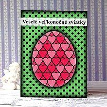 Papiernictvo - Geometrické veľkonočné vajíčko puntíky - srdiečka - 9297758_