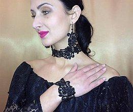 Sady šperkov - Čierna krajková súprava - 9296104_